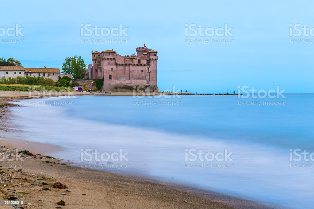 View of Castel of Pyrgi to Santa Severa in Italy stock photo