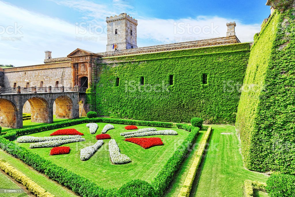 View of Castillo de Montjuic  on mountain Montjuic. stock photo