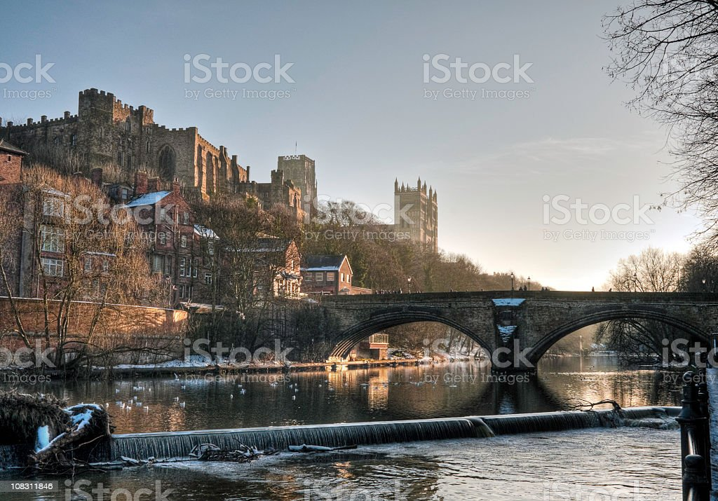 HDR view of Castle and Cathedral, Durham, UK stock photo
