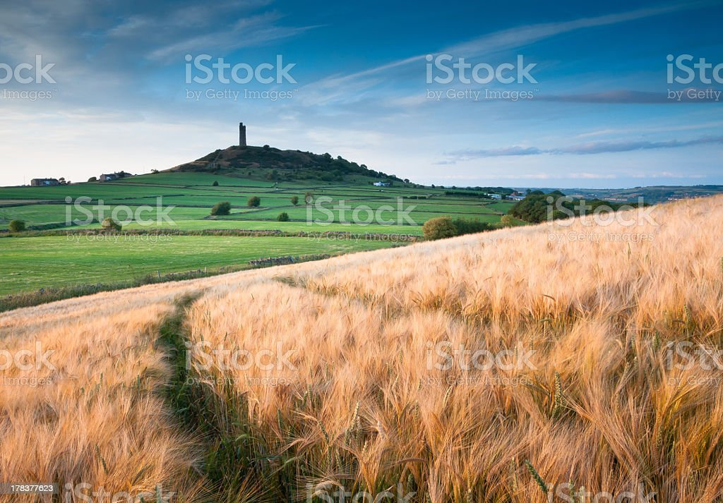 View of castle hill and the sky stock photo