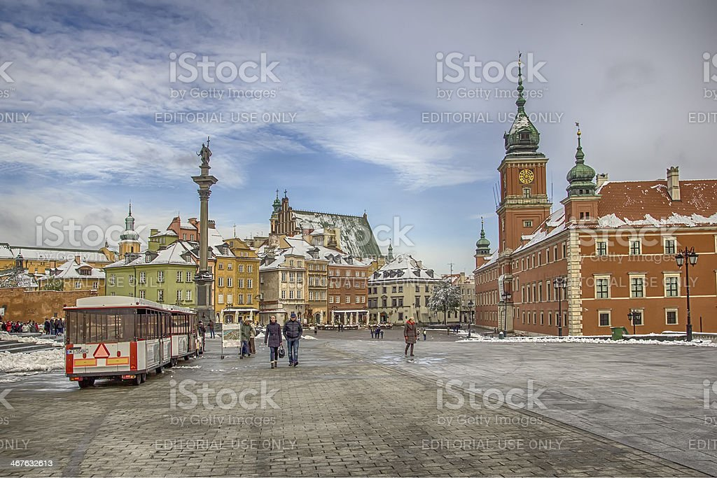 View of Castle Real square in Warsaw stock photo