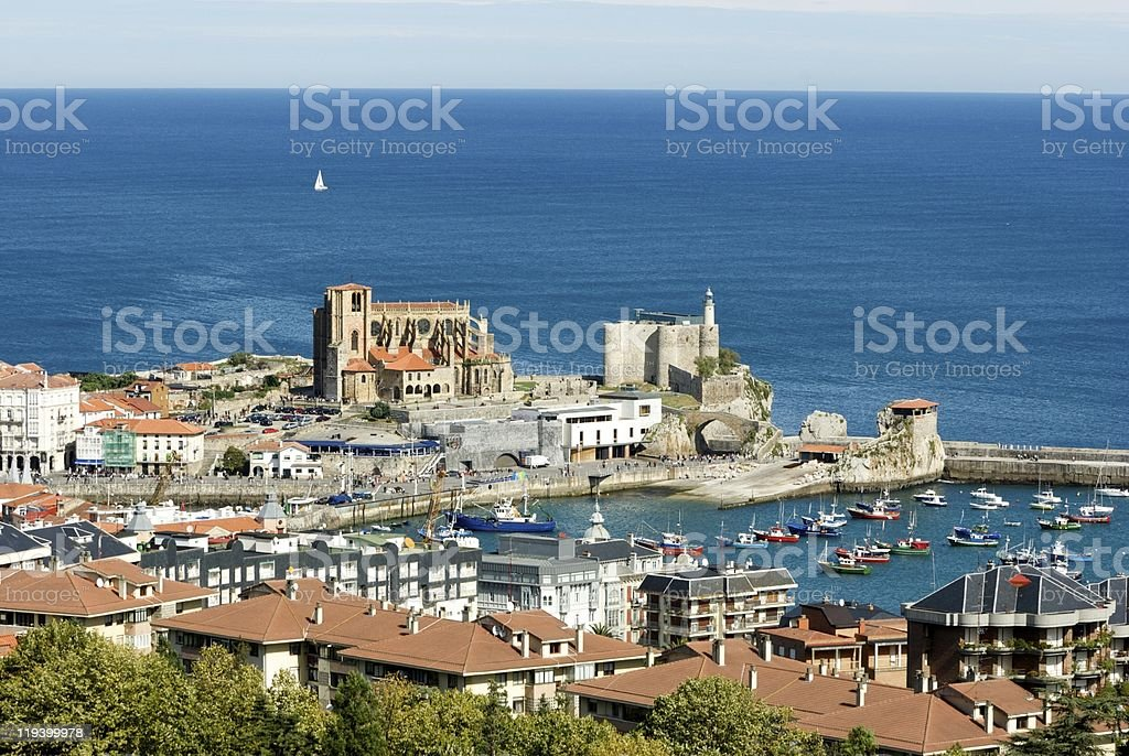 View of Castro Urdiales (Cantabria - Spain) stock photo