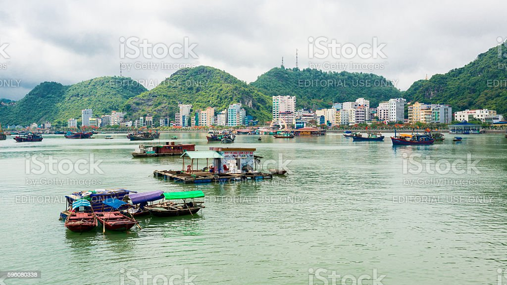View of Cat Ba bay with boats and floating restaurants stock photo