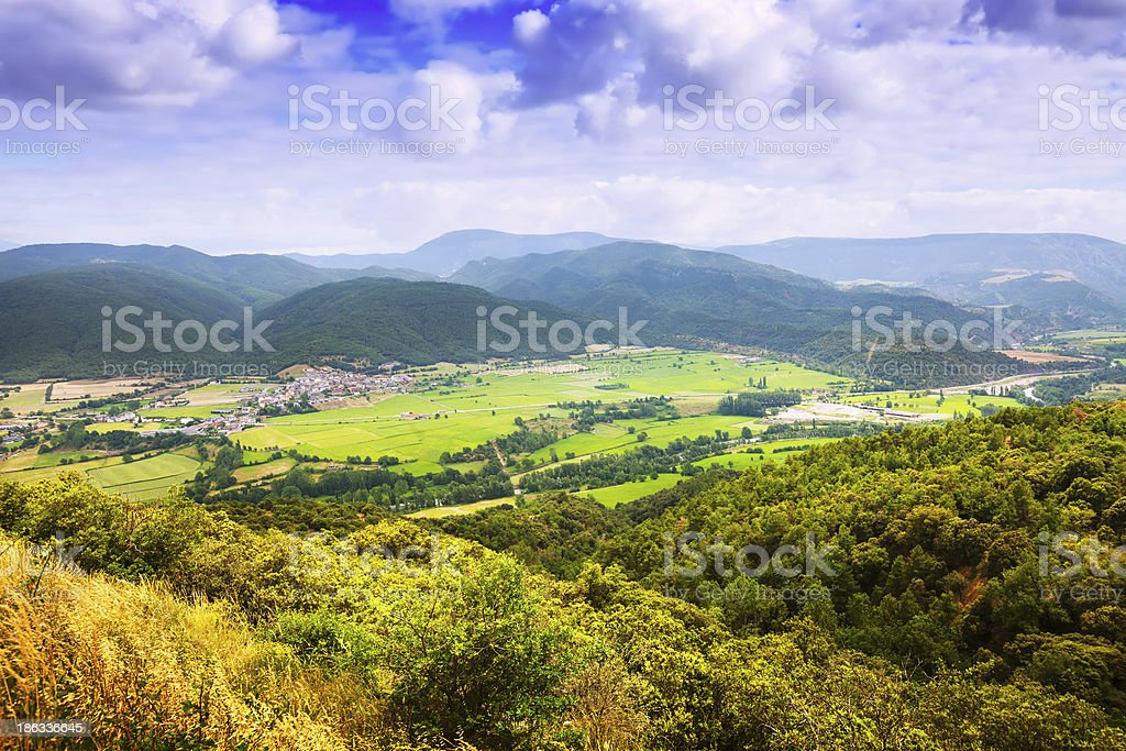 View of catalan mountains valley stock photo