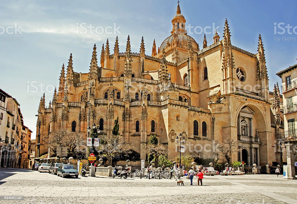 View of Cathedral of Segovia stock photo