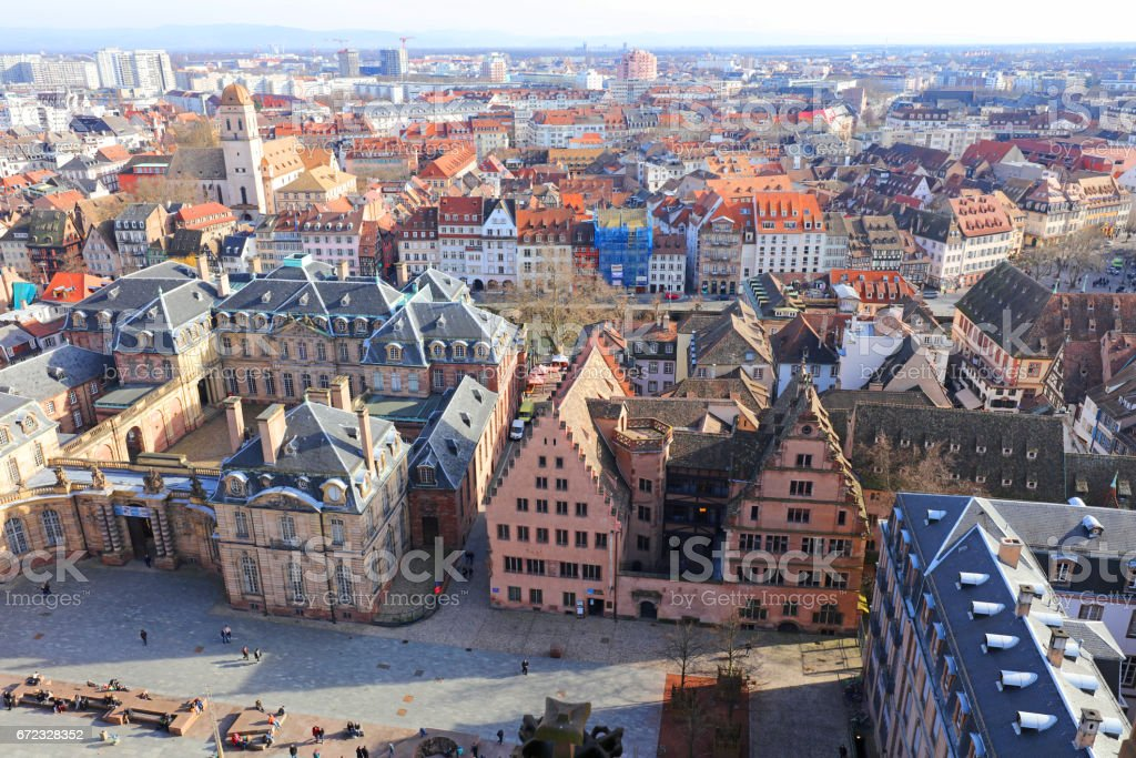 View of Cathedral Square and Rohan Palace in Strasbourg in Alsace, France stock photo