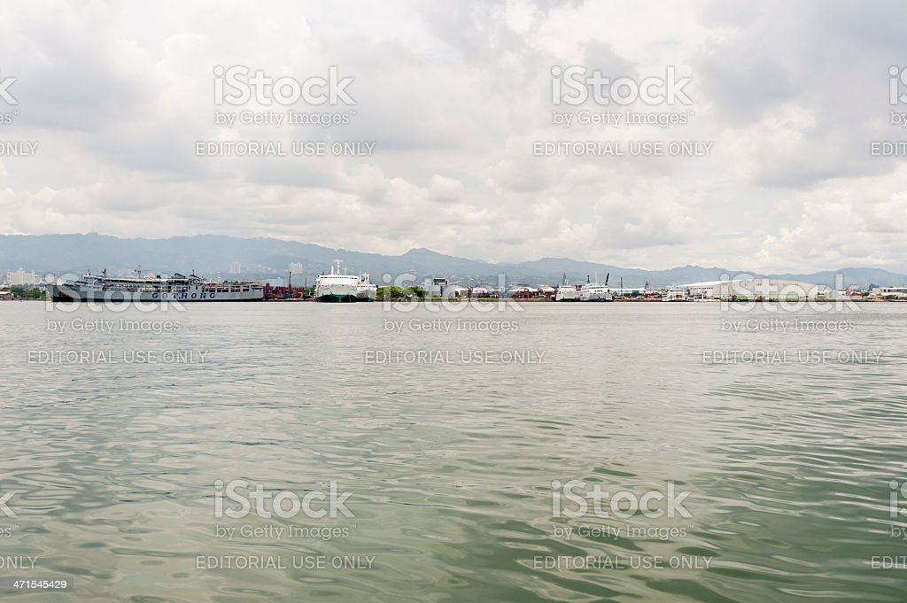 View of Cebu Ferry Terminal from Mactan Straight stock photo