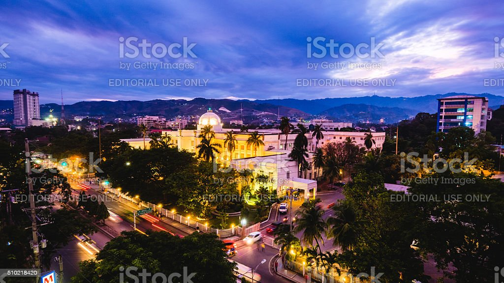 View of Cebu Provincial Capitol Building at night stock photo