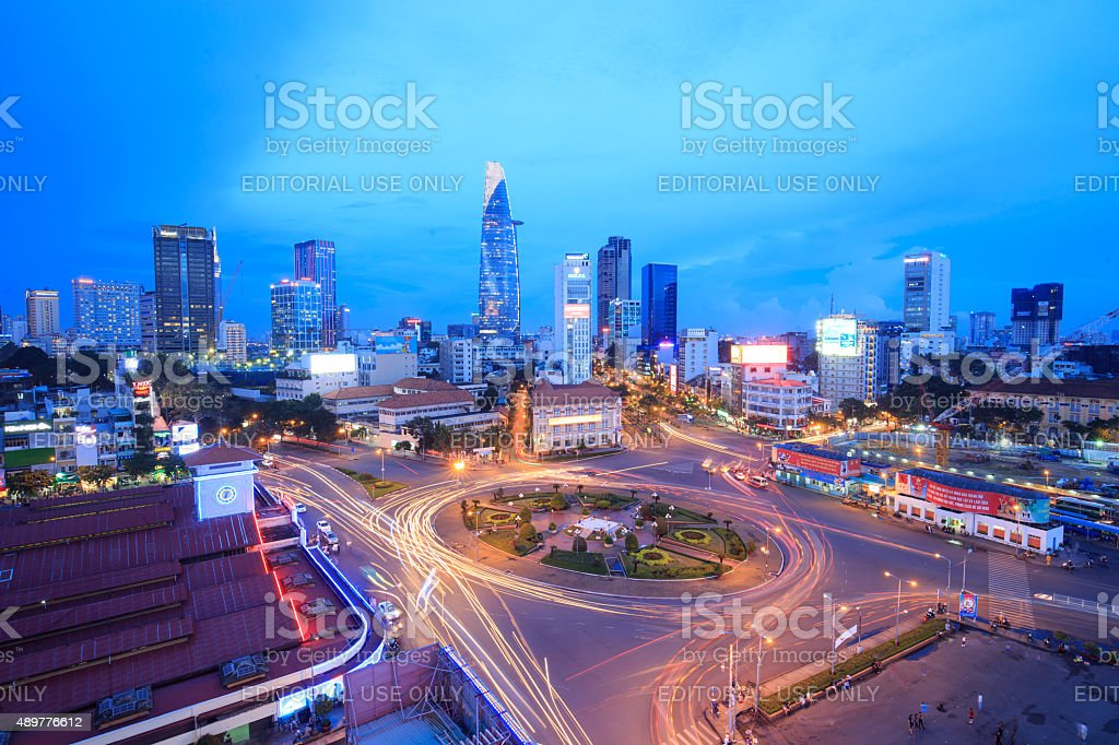 View of center of Saigon city at night royalty-free stock photo