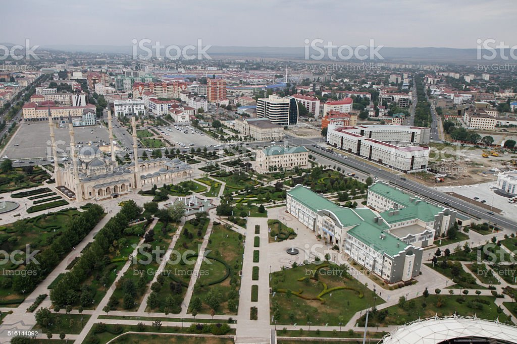 View of central Grozny stock photo