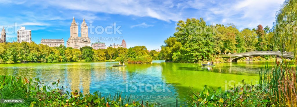 View of Central Park in autumn in New York City. stock photo