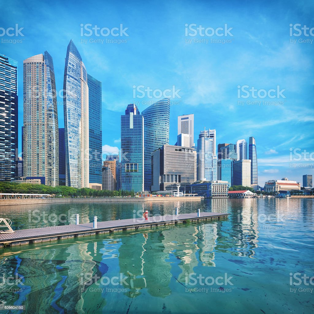 View of central Singapore skyline stock photo