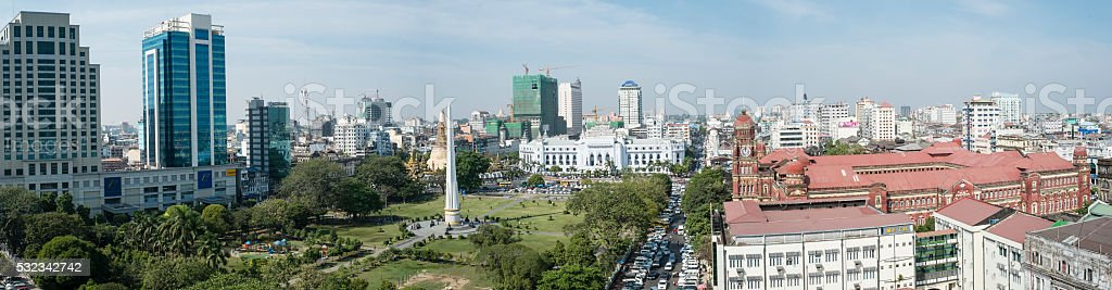 View of Central Yangon stock photo