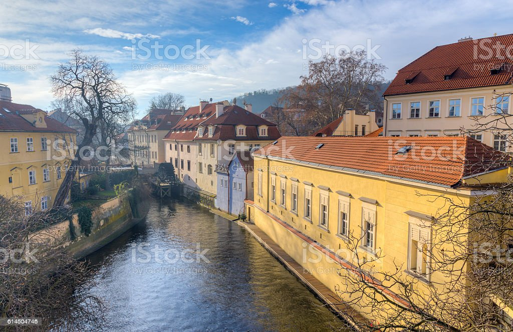 View of Certovka channel in Prague from Charles bridge, Czechia. stock photo