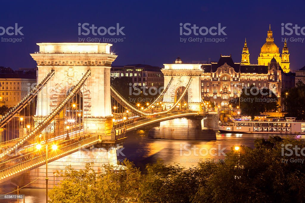 View of Chain Bridge and Basilica in Budapest at dusk stock photo