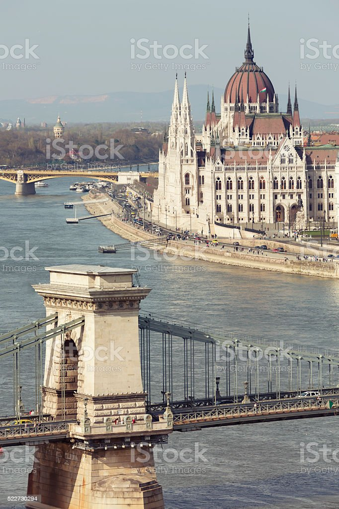 View of Chain Bridge and Parliament in Budapest stock photo