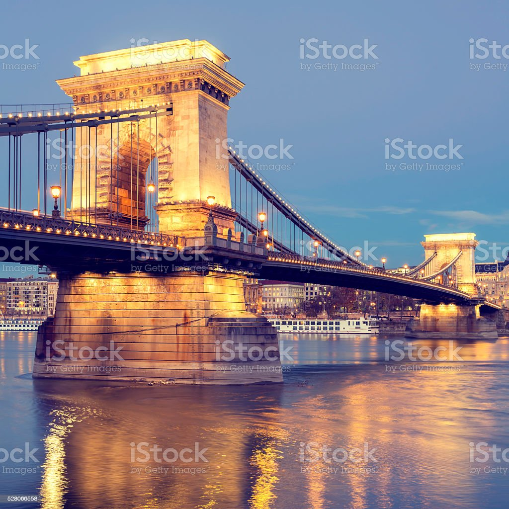 View of Chain Bridge in Budapest at dusk stock photo