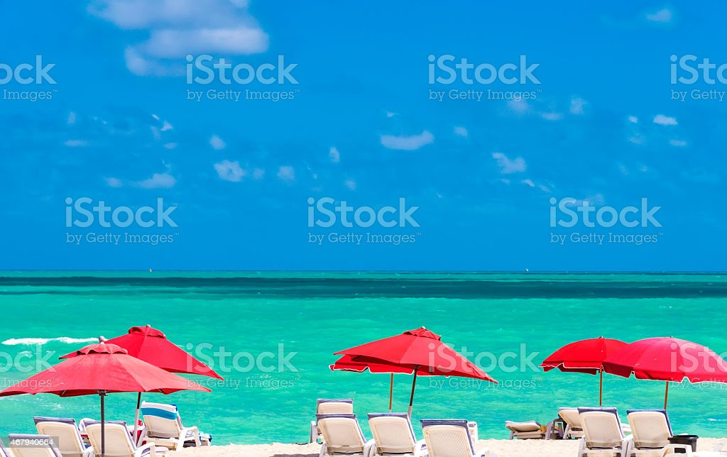 A view of chairs and umbrellas on Miami Beach in Florida stock photo
