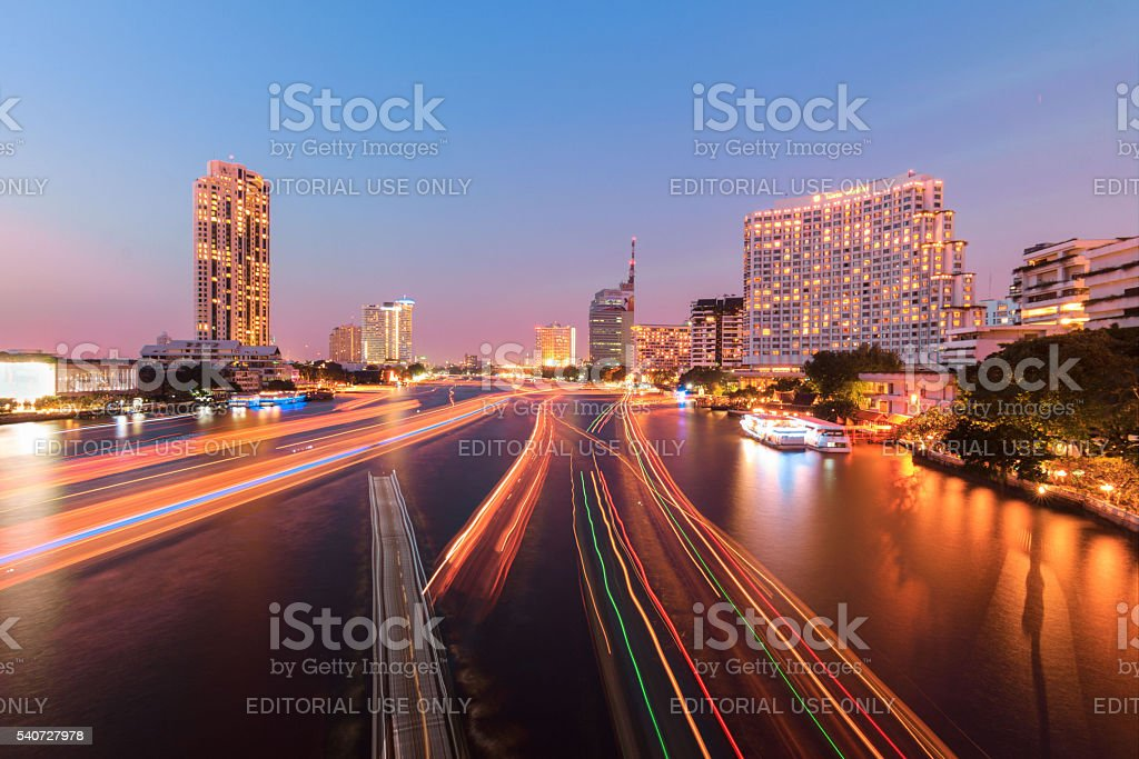 View of Chao Phraya River side building taken. stock photo