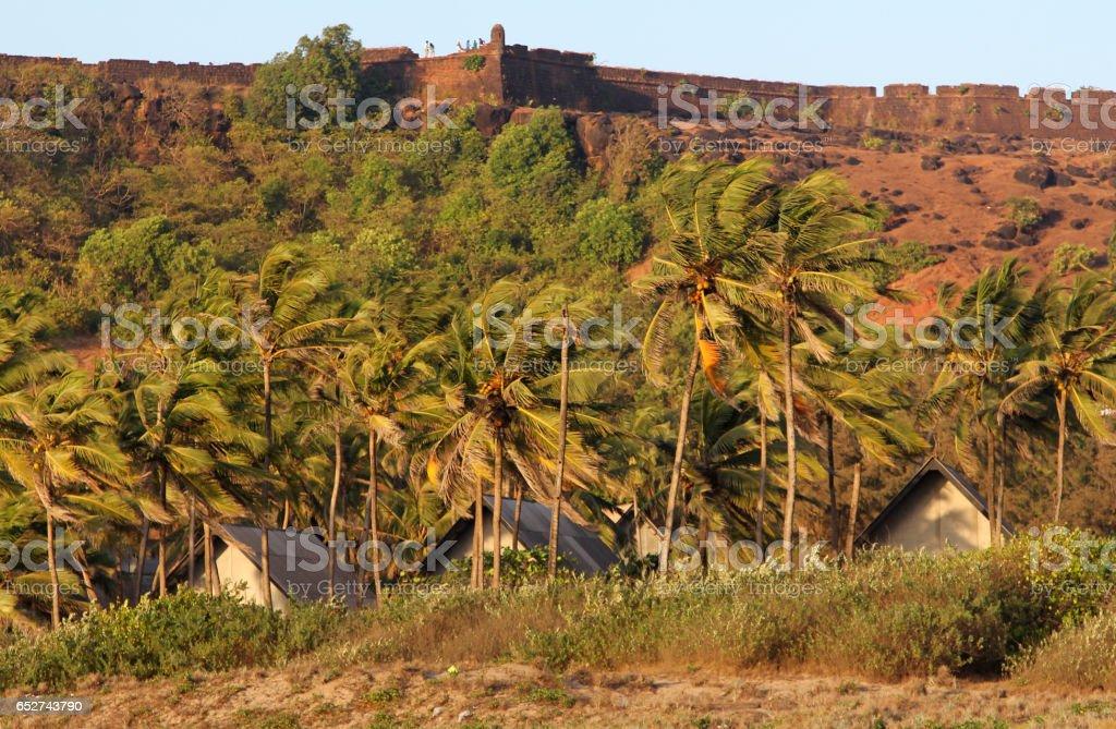 View of Chapora Fort and Vagator beach, Goa, India stock photo