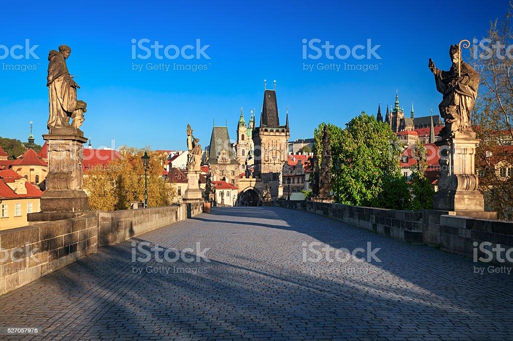 View of Charles Bridge, Prague stock photo