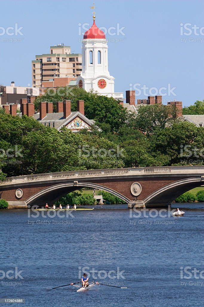 A view of Charles River and Weeks Bridge in Cambridge, MA stock photo