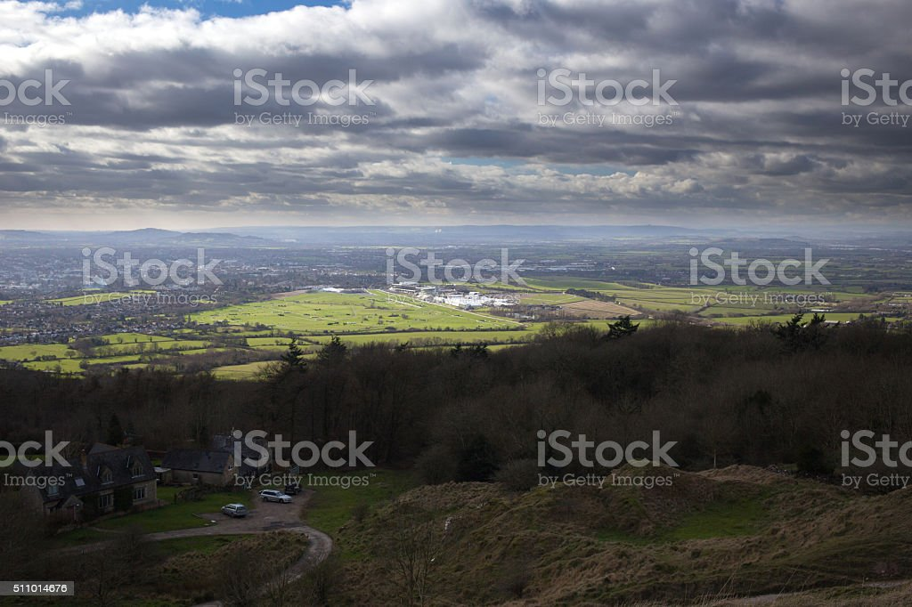 View of Cheltenham taken from Cleeve Hill in the Cotswolds stock photo