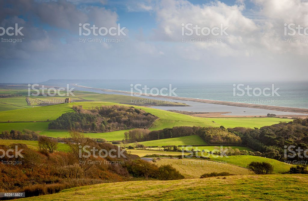 View Of Chesil Beach, and the Dorset Countryside stock photo