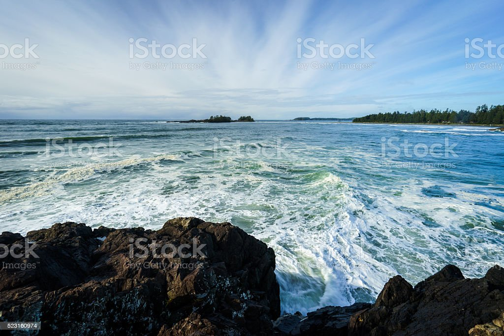 View of Chesterman Beach in Tofino from Pettinger Point stock photo