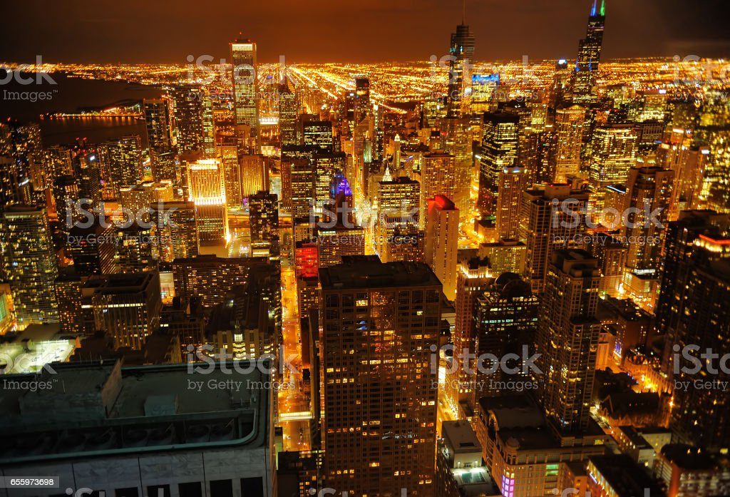 View of Chicago downtown at night from high above stock photo