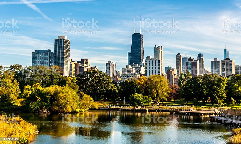 View of Chicago from Lincoln Park stock photo