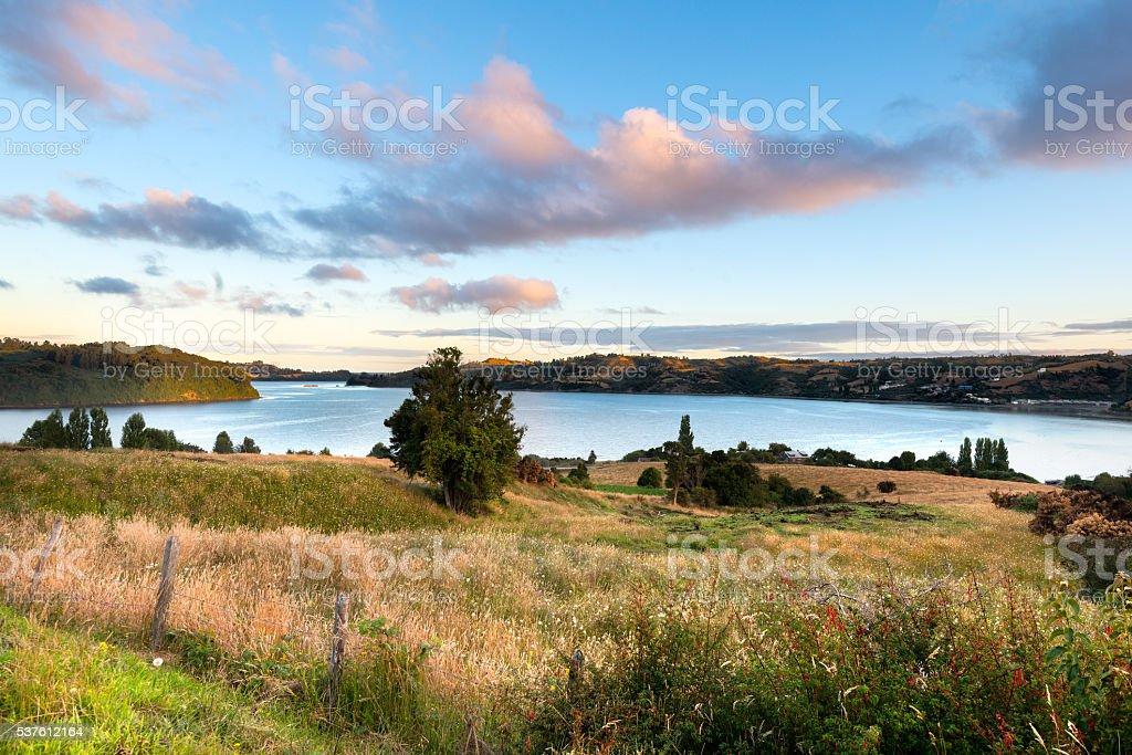 View of Chiloe Island stock photo