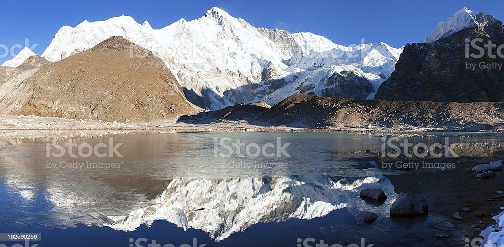 view of Cho Oyu mirroring in lake royalty-free stock photo