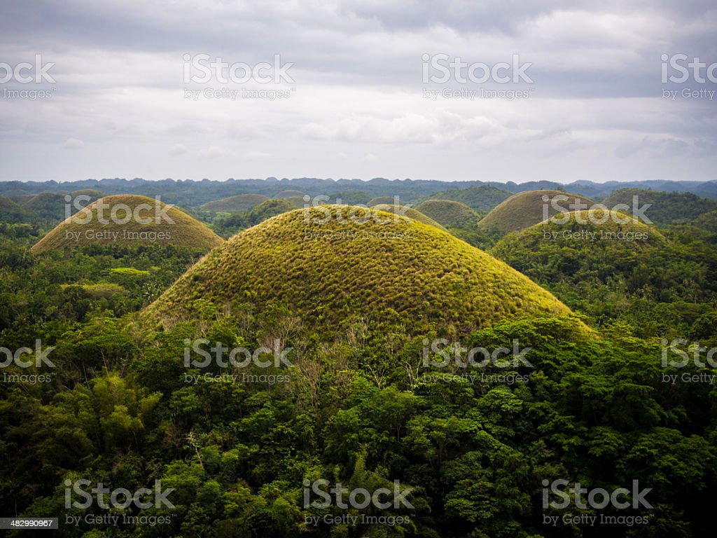 View of Chocolate Hills in Bohol, Philippines stock photo