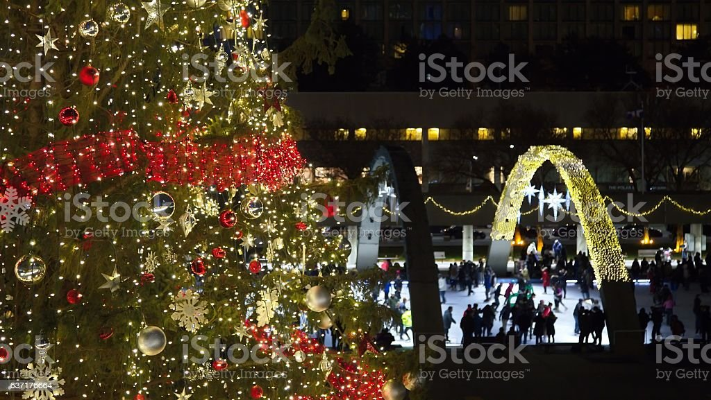 View of Christmas tree at Nathan Phillips square stock photo