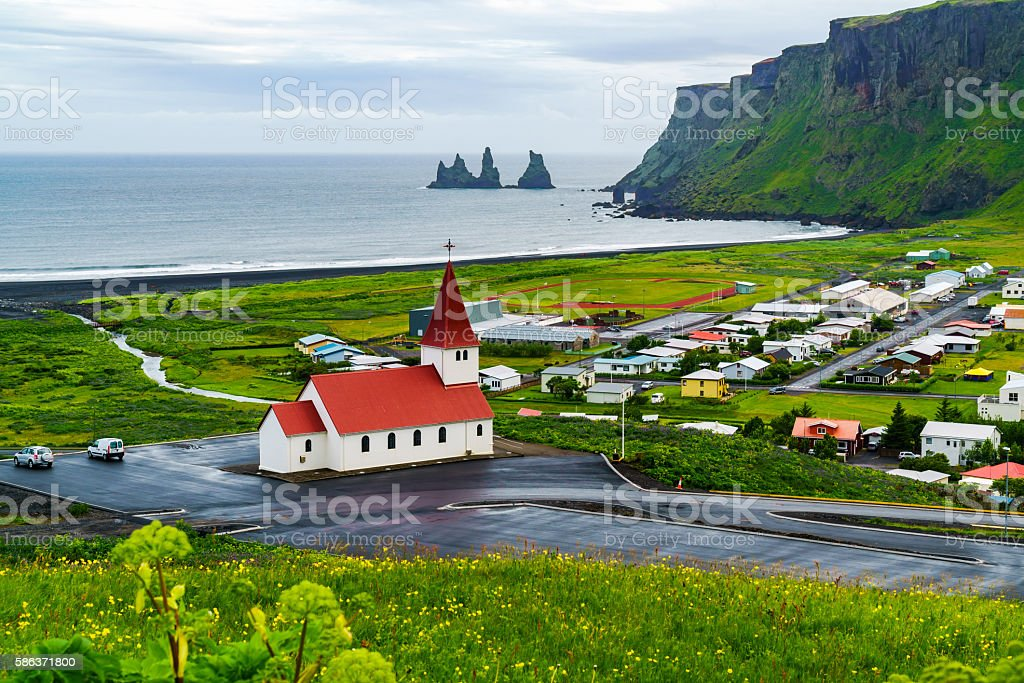 View of church at the village of Vik stock photo