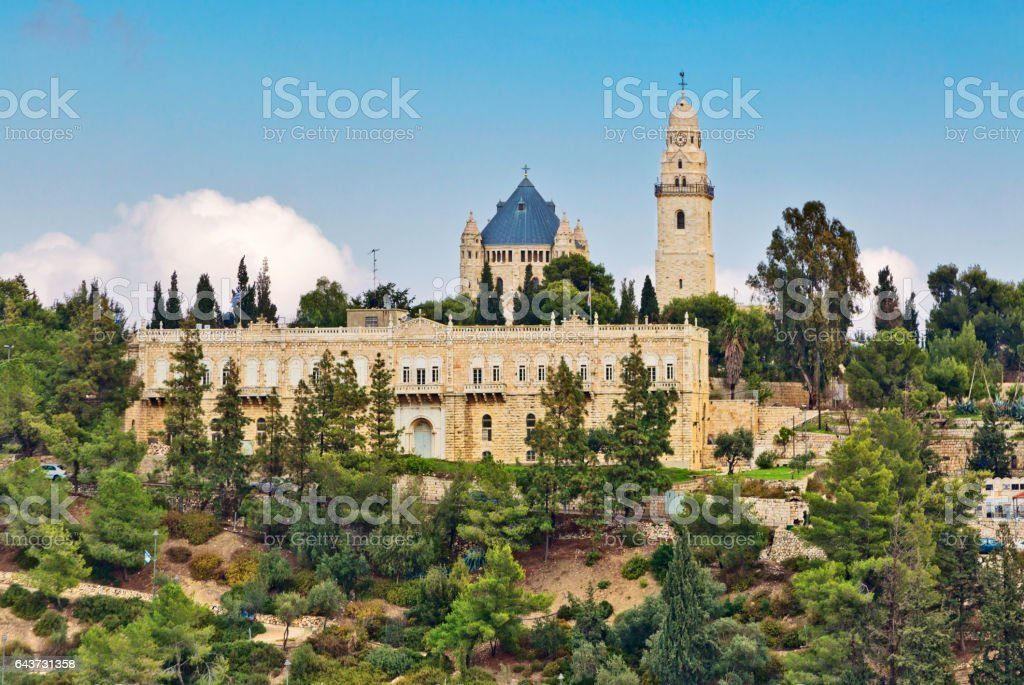 View of Church of Dormition, Jerusalem, Israel stock photo