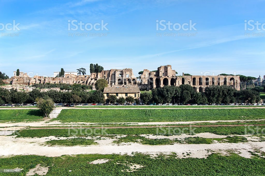 View of Circus Maximus and Palatine Hill, Rome, Italy stock photo