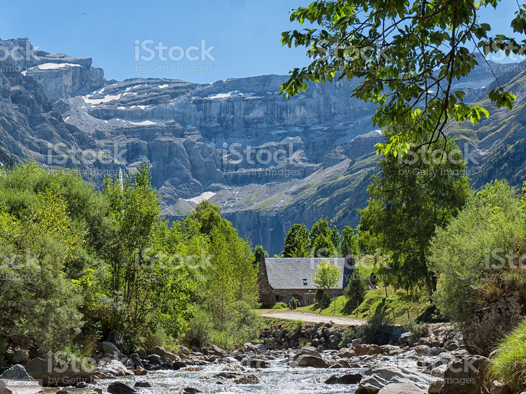 view of Cirque de Gavarnie, Hautes-Pyrenees, France stock photo