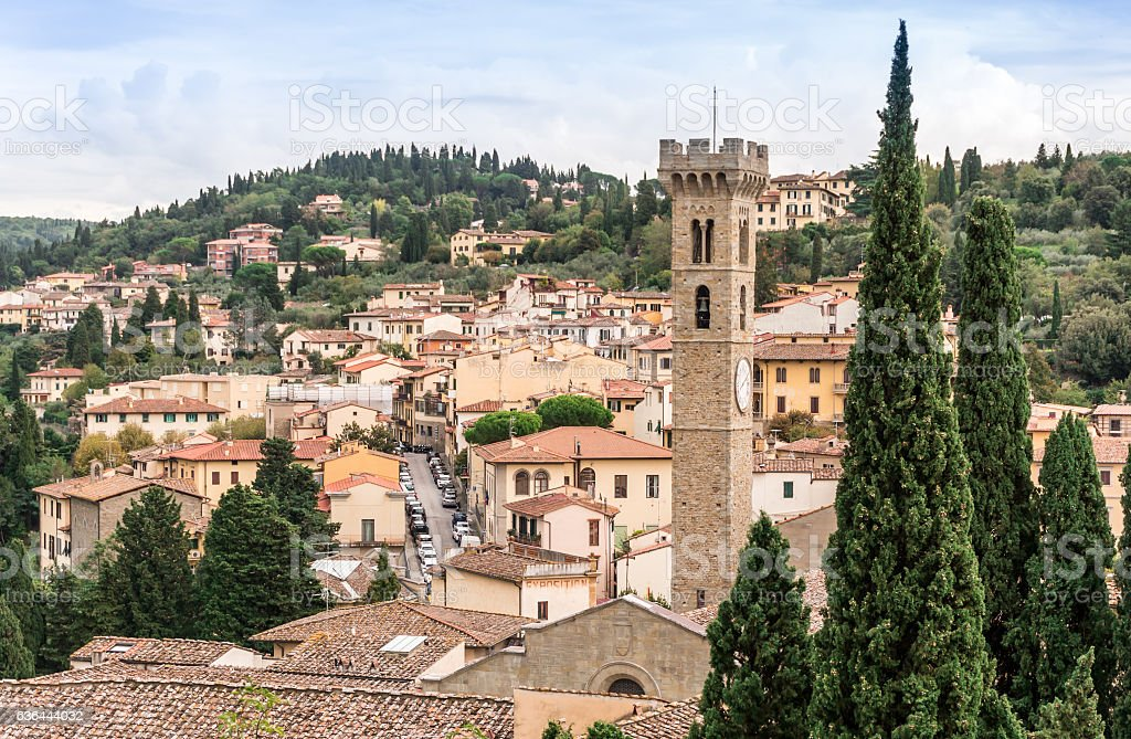 View of city center of Fiesole with cathedral tower. stock photo
