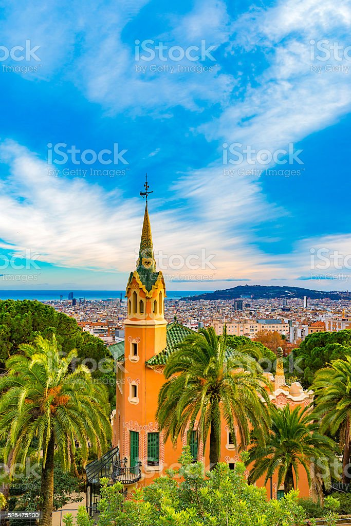 View of city from Park Guell in Barcelona stock photo