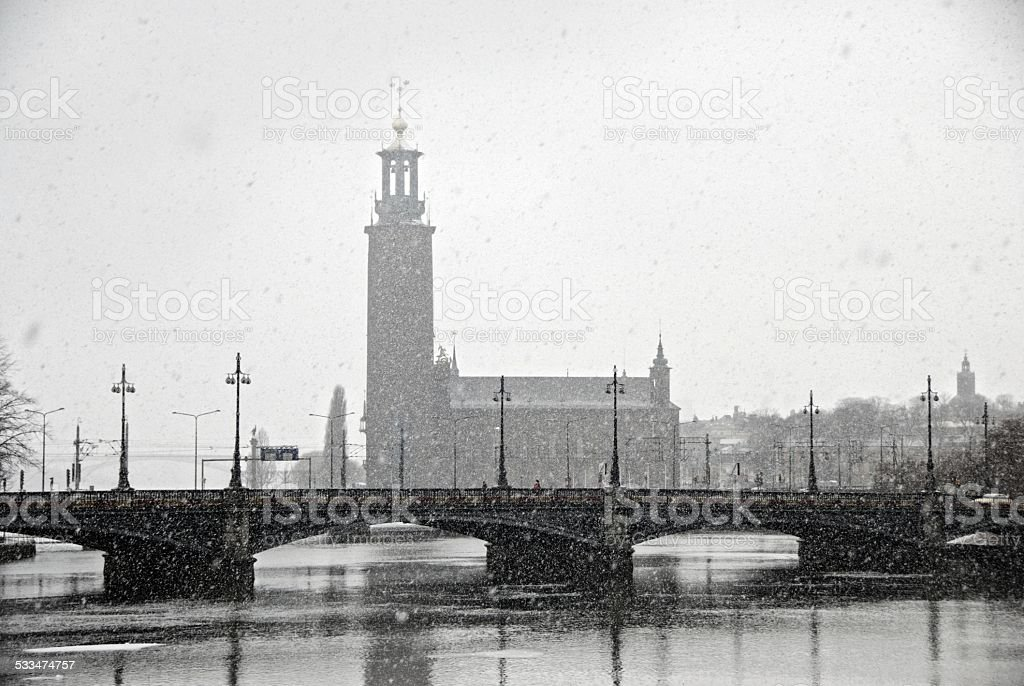 view of City Hall (Stadhuset). Stockholm, Sweden stock photo