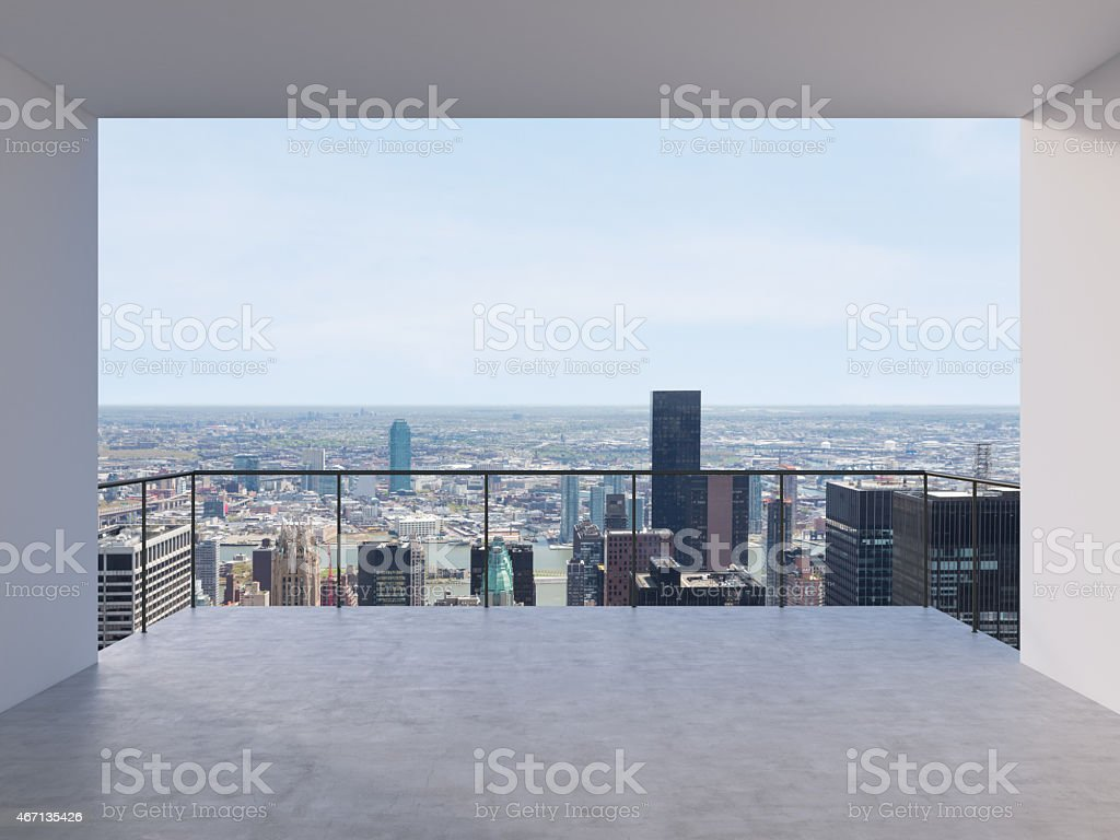 View of city horizon from high balcony stock photo