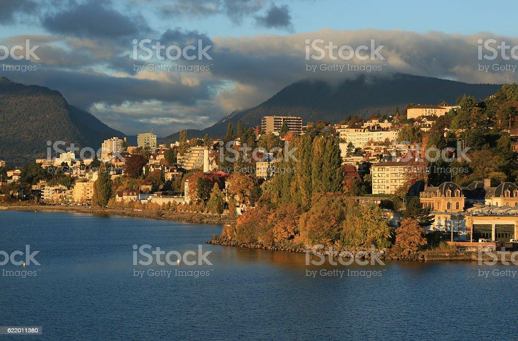 View of city  Neuchatel, Switzerland, Europe stock photo