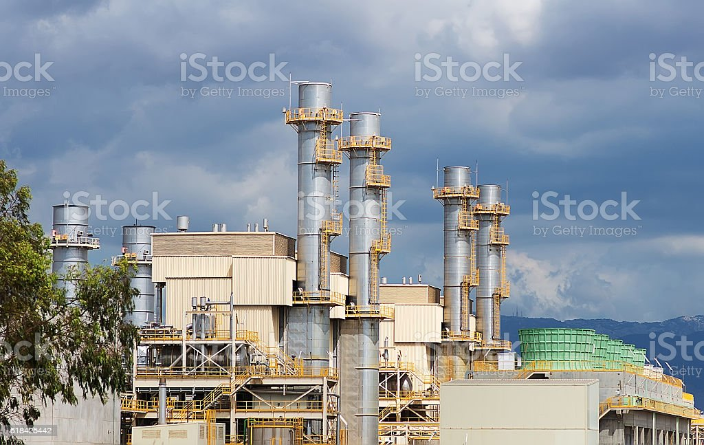View of city waste incinerator plant. stock photo