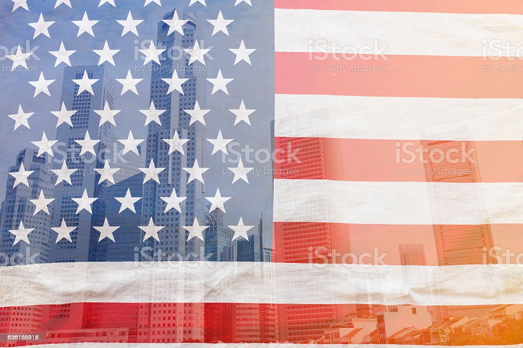 view of city with flag of the USA stock photo