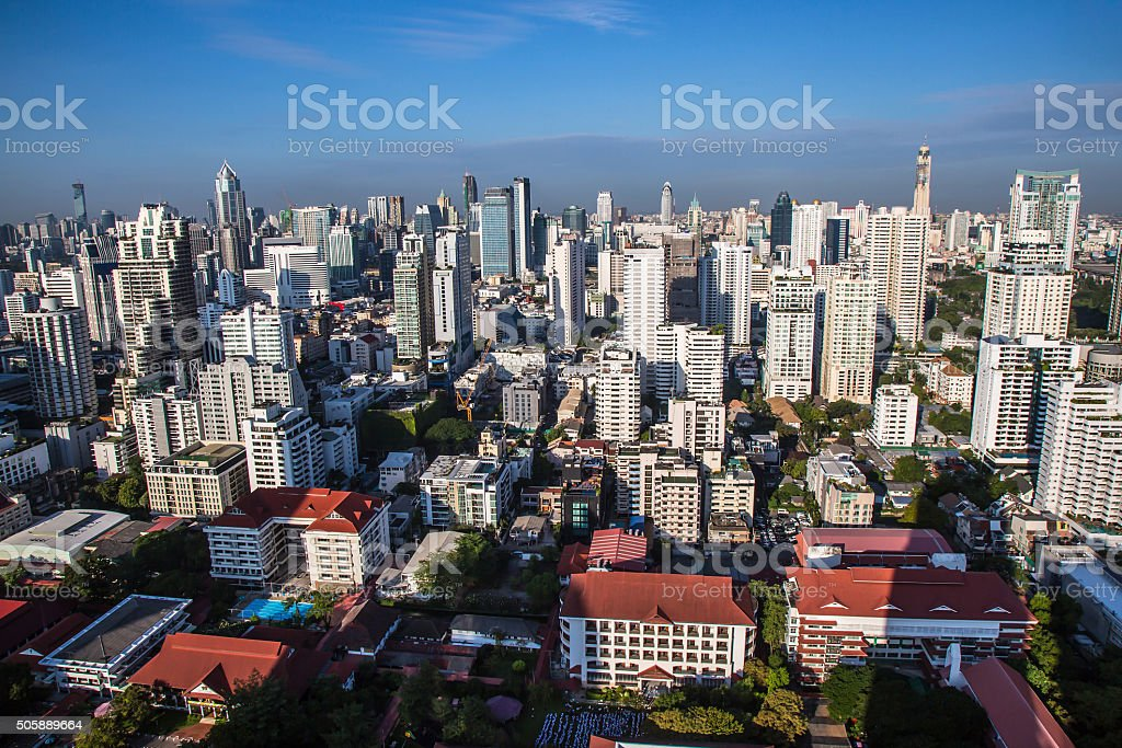 view of Cityscape in the morning stock photo