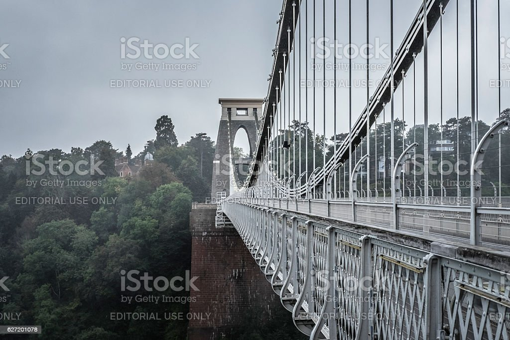 View of Clifton Suspension Bridge, Bristol, UK. stock photo