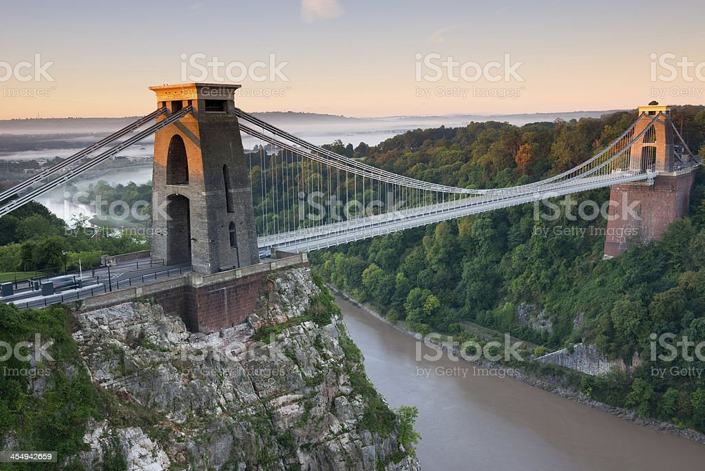 View of Clifton Suspension Bridge with river below stock photo