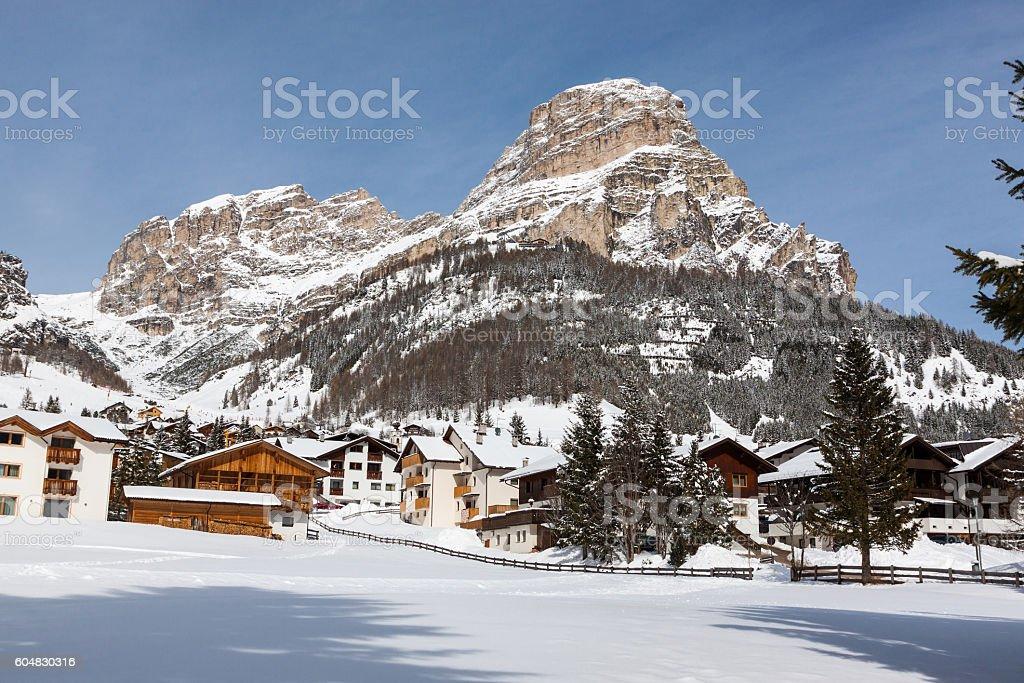 View of Colfosco, mountain ski area in the Italian Dolomite stock photo
